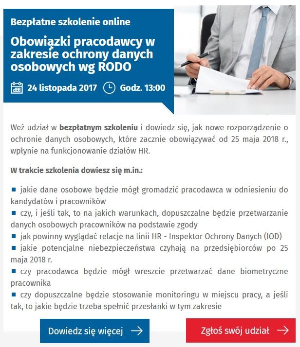 6393f200566e1d Obowiązki pracodawcy w zakresie ochrony danych osobowych wg RODO - szkolenie  online